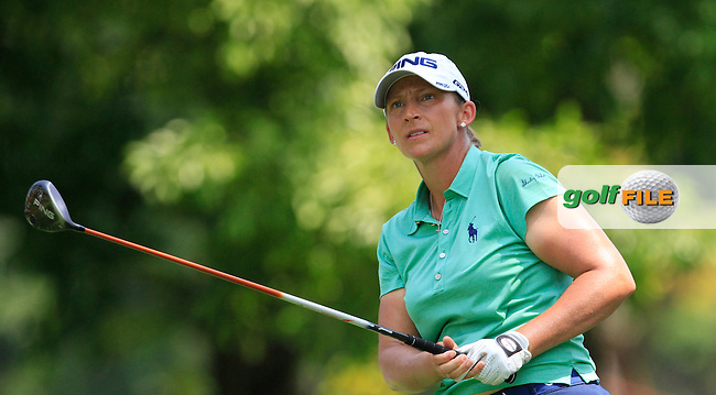 Angela Stanford (USA) on the 9th tee during Round 3 of the HSBC Women's Champions at the Sentosa Golf Club, The Serapong Course in Singapore on Saturday 7th March 2015.<br /> Picture:  Thos Caffrey / www.golffile.ie