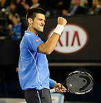 Novak Djokovic (SRB) wins the men's final against Andy Murray (GBR) 7-6, 6-7, 6-3, 6-0