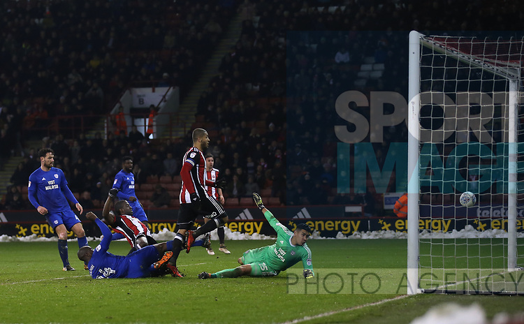 Clayton Donaldson of Sheffield Utd strikes the post during the Championship match at Bramall Lane Stadium, Sheffield. Picture date 02nd April, 2018. Picture credit should read: Simon Bellis/Sportimage