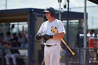 GCL Yankees East Alex Guerrero (8) bats during a Gulf Coast League game against the GCL Phillies East on July 31, 2019 at Yankees Minor League Complex in Tampa, Florida.  GCL Yankees East defeated the GCL Phillies East 11-0 in the first game of a doubleheader.  (Mike Janes/Four Seam Images)