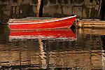 Red skiff in Rockport Harbor, Rockport, MA, USA