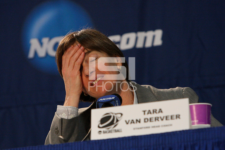 BERKELEY, CA - MARCH 30: Head coach Tara Vanderveer in the post-game press conference following Stanford's 74-53 win against the Iowa State Cyclones on March 30, 2009 at Haas Pavilion in Berkeley, California.