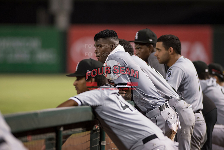 Center fielder Luis Robert (15), on rehab assignment with the AZL White Sox, during an Arizona League game against the AZL Angels at Tempe Diablo Stadium on August 3, 2018 in Tempe, Arizona. The AZL White Sox defeated the AZL Angels 6-4. (Zachary Lucy/Four Seam Images)