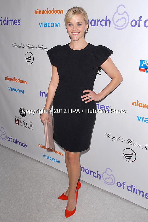LOS ANGELES - DEC 7:  Reese Witherspoon arrives to the 2012 March Of Dimes Celebration Of Babies at Beverly Hills Hotel on December 7, 2012 in Beverly Hills, CA