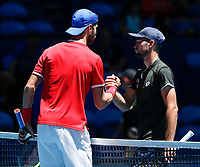 7th January 2020; RAC Arena, Perth, Western Australia; ATP Cup Australia, Perth, Day 5; Russia versus Norway; Karen Khachanov of Russia shakes hands with Viktor Durasovic of Norway after defeating him 2 sets to love - Editorial Use