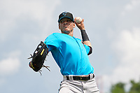 Miami Marlins Victor Mesa Jr. (10) warms up before a Minor League Extended Spring Training game against the New York Mets on April 12, 2019 at the First Data Field Complex in St. Lucie, Florida.  (Mike Janes/Four Seam Images)