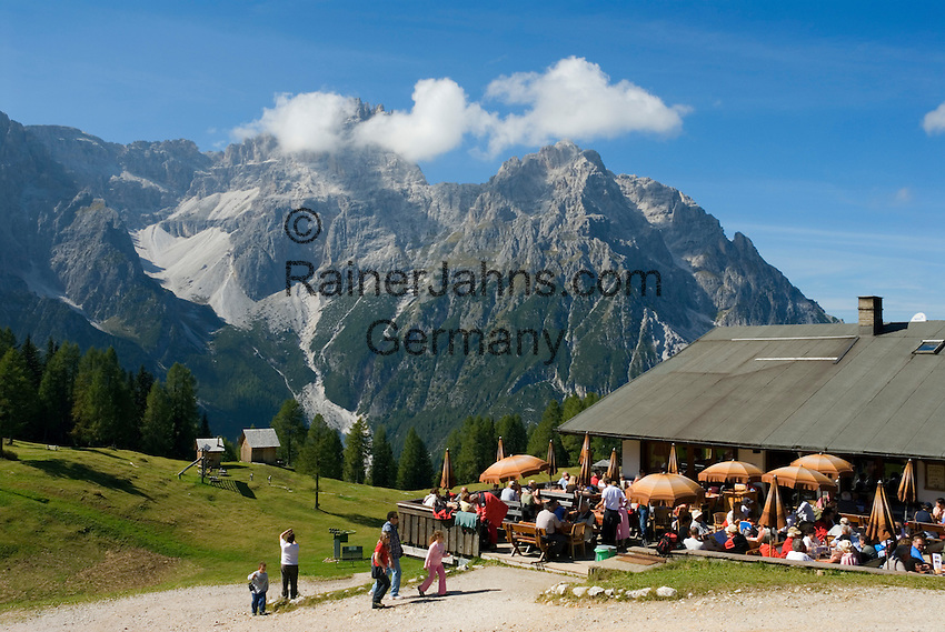 Italy, South Tyrol, Alto Adige, Dolomites, Moso: hiking region Prati di Croda Rossa with Rudi Mountain Inn and Punta Tre Scarperi mountain