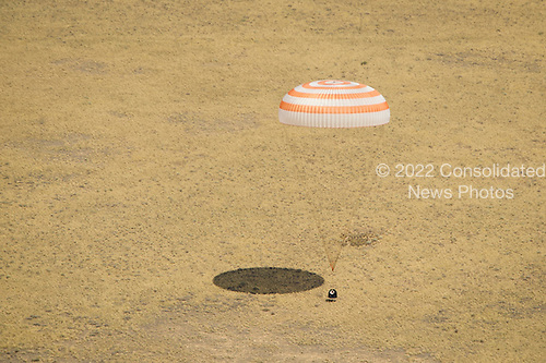 The Soyuz TMA-03M spacecraft is seen as it lands with Expedition 31 Commander Oleg Kononenko of Russia and Flight Engineers Don Pettit of NASA and Andre Kuipers of the European Space Agency in a remote area near the town of Zhezkazgan, Kazakhstan, on Sunday, July 1, 2012.  Pettit, Kononenko and Kuipers returned from more than six months onboard the International Space Station where they served as members of the Expedition 30 and 31 crews. .Mandatory Credit: Bill Ingalls / NASA via CNP