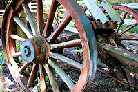 Old wagon wheels and axle at Black Creek Pioneer Village in Toronto Canada