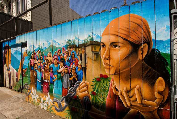 California: San Francisco. Mission district murals, Hispanic themes.  Photo copyright Lee Foster.  Photo # 26-casanf78625.