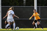 Sky Blue FC goalkeeper Jill Loyden (21) faces down Washington Spirit forward Conny Pohlers (16). Sky Blue FC defeated the Washington Spirit 1-0 during a National Women's Soccer League (NWSL) match at Yurcak Field in Piscataway, NJ, on August 3, 2013.