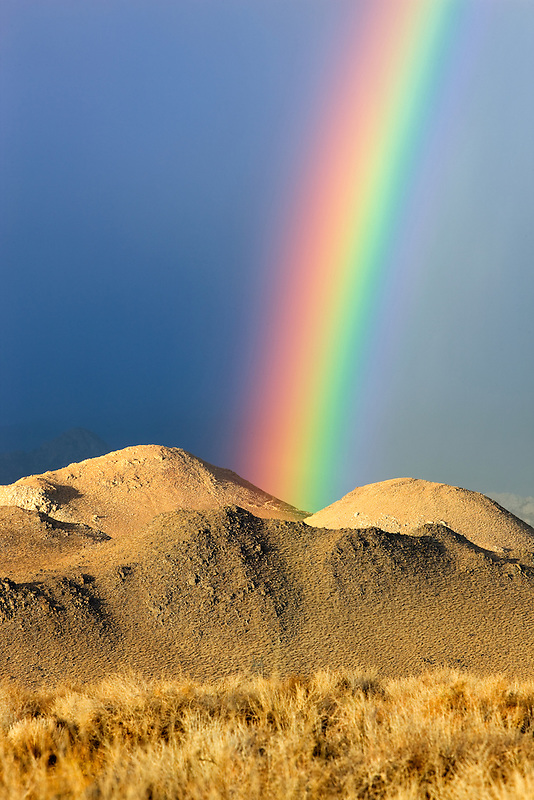 Rainbow over Eastern Sierra Mountains near Bishop, California