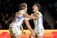 Exeter Chiefs' Lachie Turner and Exeter Chiefs' Henry Slade celebrate <br /> <br /> Photographer Bob Bradford/CameraSport<br /> <br /> Aviva Premiership Round 20 - Harlequins v Exeter Chiefs - Friday 14th April 2016 - The Stoop - London<br /> <br /> World Copyright &copy; 2017 CameraSport. All rights reserved. 43 Linden Ave. Countesthorpe. Leicester. England. LE8 5PG - Tel: +44 (0) 116 277 4147 - admin@camerasport.com - www.camerasport.com