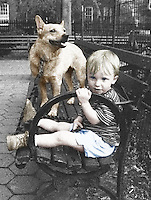 (Photo by Brian Cleary/www.bcpix.com) A boy and his dog sit on a park bench in New York City.  Black and white computer colored, digitally manipulated. (Photo by Brian Cleary/www.bcpix.com)