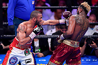 """Fairfax, VA - May 11, 2019: Julian J-Rock"""" Williams throws a jab during Jr. Middleweight title fight at Eagle Bank Arena in Fairfax, VA. Julian Williams defeated Hurd to take home the IBF, WBA and IBO Championship belts by unanimous decision. (Photo by Phil Peters/Media Images International)"""