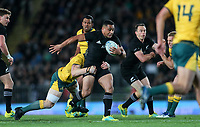 Ngani Laumape in action during the Bledisloe Cup and Rugby Championship rugby match between the New Zealand All Blacks and Australia Wallabies at Eden Park in Auckland, New Zealand on Saturday, 25 August 2018. Photo: Simon Watts / lintottphoto.co.nz
