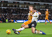 9th February 2019, Pride Park, Derby, England; EFL Championship football, Derby Country versus Hull City; Mason Bennett of Derby County is tackled by Markus Henriksen of Hull City