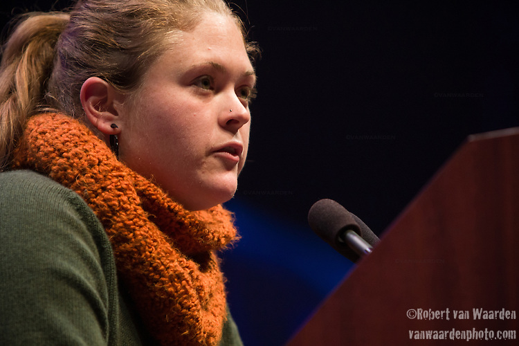 Deirdre Lally from Pennsylvania speaks at Powershift. Over six thousand young people from all over the country are converging in Pittsburgh, PA for Power Shift 2013, a massive training dedicated to bringing about a safe planet and a just future for all people. (Photo by: Robert van Waarden)