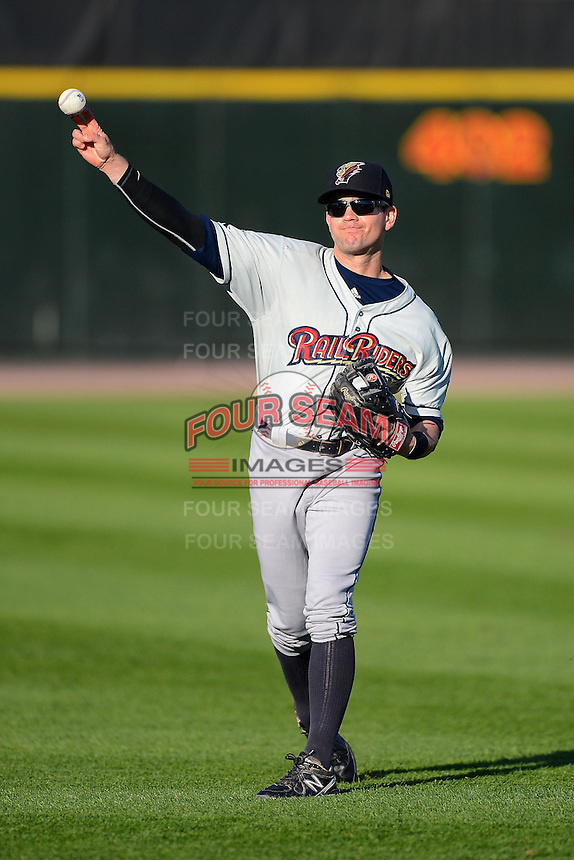 Scranton Wilkes-Barre RailRiders outfielder Addison Maruszak #8 warms up before a game against the Rochester Red Wings on June 19, 2013 at Frontier Field in Rochester, New York.  Scranton defeated Rochester 10-7.  (Mike Janes/Four Seam Images)