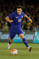 June 7, 2016: LAZAROS CHRISTODOULOPOULOS (10) of Greece runs with the ball during an international friendly match between the Australian Socceroos and Greece at Etihad Stadium, Melbourne. Photo Sydney Low