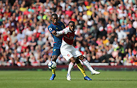 West Ham United's Issa Diop and Arsenal's Alexandre Lacazette<br /> <br /> Photographer Rob Newell/CameraSport<br /> <br /> The Premier League - Arsenal v West Ham United - Saturday August 25th 2018 - The Emirates - London<br /> <br /> World Copyright © 2018 CameraSport. All rights reserved. 43 Linden Ave. Countesthorpe. Leicester. England. LE8 5PG - Tel: +44 (0) 116 277 4147 - admin@camerasport.com - www.camerasport.com