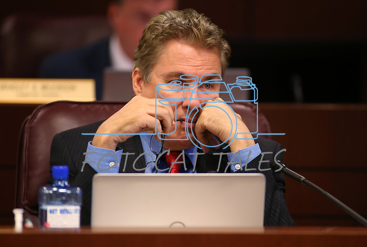 Nevada Assemblyman Brent Jones, R-Las Vegas, works in committee at the Legislative Building in Carson City, Nev., on Wednesday, April 29, 2015. <br /> Photo by Cathleen Allison