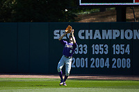 LSU Tigers right fielder Antoine Duplantis (8) settles undr a fly ball during the game against the Georgia Bulldogs at Foley Field on March 23, 2019 in Athens, Georgia. The Bulldogs defeated the Tigers 2-0. (Brian Westerholt/Four Seam Images)