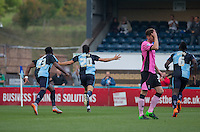 Luke O'Nien of Wycombe Wanderers turns to celebrate his first goal for the club during the Sky Bet League 2 match between Wycombe Wanderers and Northampton Town at Adams Park, High Wycombe, England on 3 October 2015. Photo by Andy Rowland.