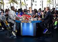 "MIAMI BEACH, FL - JANUARY 29: Shannon Sharpe, Jenny Taft, and Skip Bayless on the set of ""Skip & Shannon: Undisputed"" on the Fox Sports South Beach studio during Super Bowl LIV week on January 29, 2020 in Miami Beach, Florida. (Photo by Frank Micelotta/Fox Sports/PictureGroup)"