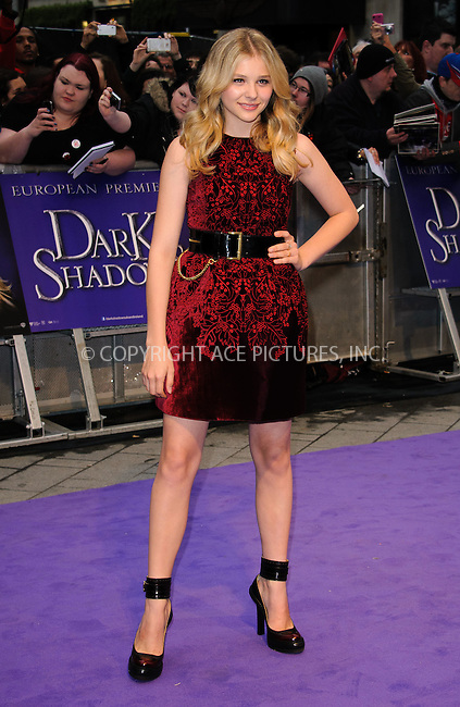 WWW.ACEPIXS.COM . . . . .  ..... . . . . US SALES ONLY . . . . .....May 9 2012, London....Chloe Moretz at the premiere of 'Dark Shadows' held at The Empire Cinema on May 9 2012 in London ....Please byline: FAMOUS-ACE PICTURES... . . . .  ....Ace Pictures, Inc:  ..Tel: (212) 243-8787..e-mail: info@acepixs.com..web: http://www.acepixs.com