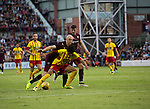 Heart of Midlothian 1 Birkirkara 2, 21/07/2016. Tynecastle Park, UEFA Europa League 2nd qualifying round. Home striker Conor Sammon in first-half action at Tynecastle Park, Edinburgh as Heart of Midlothian (in maroon) played Birkirkara of Malta in a UEFA Europa League 2nd qualifying round, second leg. The match ended in victory for the Maltese side by 2-1 and they progressed on aggregate after the first match had ended 0-0. The game was watched by 14301 spectators, including 56 visiting fans of Birkirkara. Photo by Colin McPherson.