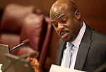Nevada Sen. Kelvin Atkinson, D-North Las Vegas, works in committee at the Legislative Building in Carson City, Nev., on Monday, May 6, 2013..Photo by Cathleen Allison