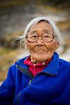 Portrait of a Greenlandic elder (woman) in Tasiussaq, Greenland.