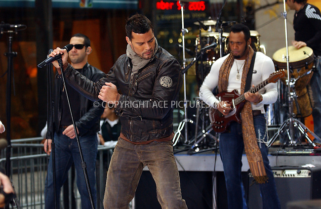 WWW.ACEPIXS.COM . . . . .  ....NEW YORK, NOVEMBER 9, 2005....Ricky Martin performs live on the NBC Today Show at the Rockefeller Center. ....Please byline: AJ Sokalner - ACE PICTURES..... *** ***..Ace Pictures, Inc:  ..Philip Vaughan (212) 243-8787 or (646) 769 0430..e-mail: info@acepixs.com..web: http://www.acepixs.com