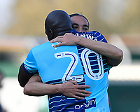 Randell Williams of Wycombe Wanderers celebrates his goal with Adebayo Akinfenwa of Wycombe Wanderers during Yeovil Town vs Wycombe Wanderers, Sky Bet EFL League 2 Football at Huish Park on 14th April 2018