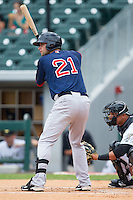 Alex Hassan (21) of the Pawtucket Red Sox at bat against the Charlotte Knights at BB&T Ballpark on August 8, 2014 in Charlotte, North Carolina.  The Red Sox defeated the Knights  11-8.  (Brian Westerholt/Four Seam Images)