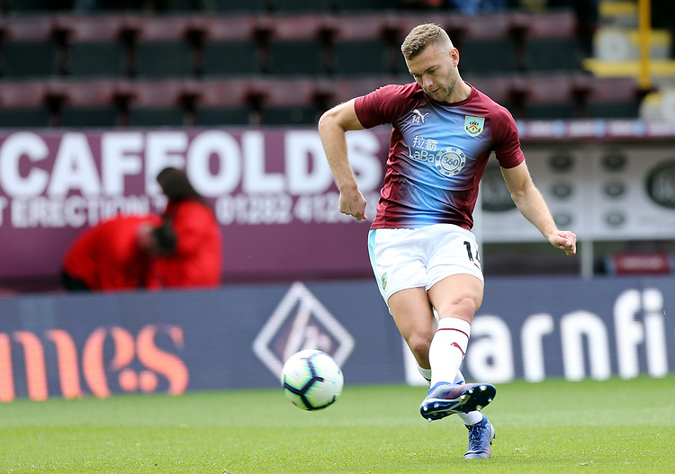 Burnley's Ben Gibson during the pre-match warm-up <br /> <br /> Photographer Rich Linley/CameraSport<br /> <br /> The Premier League - Burnley v Manchester City - Sunday 28th April 2019 - Turf Moor - Burnley<br /> <br /> World Copyright © 2019 CameraSport. All rights reserved. 43 Linden Ave. Countesthorpe. Leicester. England. LE8 5PG - Tel: +44 (0) 116 277 4147 - admin@camerasport.com - www.camerasport.com