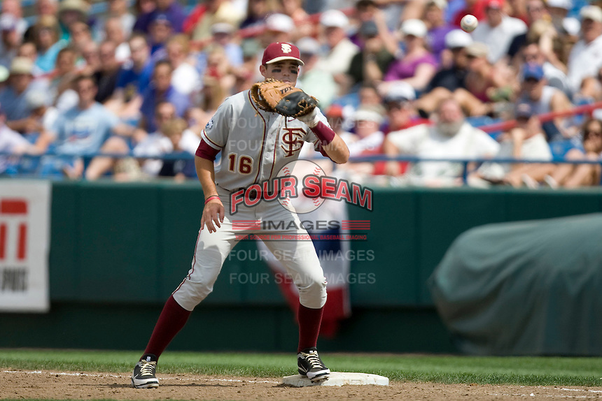 Florida State's  1B Jayce Boyd against TCU in Game 1 of the NCAA Division One Men's College World Series on Saturday June 19th, 2010 at Johnny Rosenblatt Stadium in Omaha, Nebraska.  (Photo by Andrew Woolley / Four Seam Images)