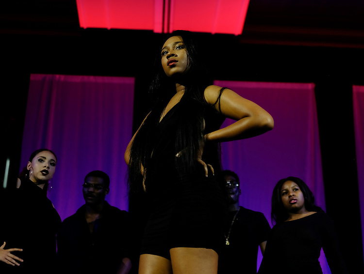 Briana Craig strikes a pose during a F.A.C.E.S. Modeling fashion show in Baker Ballroom for the Black Alumni Reunion Variety Show on Saturday, September 17, 2016. ©Ohio University / Photo by Kaitlin Owens