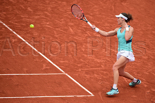 01.06.2016. Roland Garros, Paris, France. Samantha Stosur of Australia hits a return to Tsvetana Pironkova of Bulgaria during for women s singles quarterfinal at the Roland Garr2016 French Tennis Open in Paris, France, June 1, 2016. Stosur won 2-0.