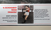 Pictured: The commemorative frame showing the players boarding the tragic Munich air disaster aeroplane. Monday 14 November 2011<br /> Re: 72 year old Kenny Morgans (correct) who signed for Manchester United on leaving school in the summer of 1955 <br /> He suffered minor injuries in the Munich air disaster, when still only 18 years old and was found unconscious amongst the debris by two journalists five hours after the official search was called off.<br /> He made a full recovery following the crash but never regained his form on the pitch and later played in the lower divisions for Swansea Town and Newport County before retiring from football in 1967.
