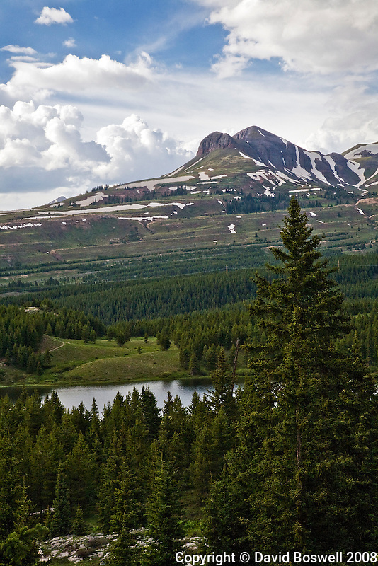 A high country lake along the Crater Lake Trail in the San Juan Mountains of southwestern Colorado, The Crater Lake Trail is located between Durango and Silverton