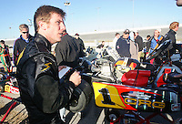 NASCAR driver Jamie McMurray  looks over his go-cart as he competes in go-cart races at Daytona International Speedway on Tuesday, December 29, 2007. (Photo by Brian Cleary/www.bcpix.com)