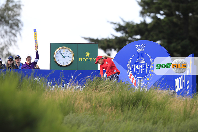 Danielle Kang Team USA on the 8th tee during Day 1 Fourball at the Solheim Cup 2019, Gleneagles Golf CLub, Auchterarder, Perthshire, Scotland. 13/09/2019.<br />