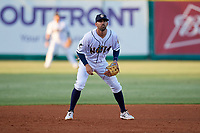 New Orleans Baby Cakes third baseman Deven Marrero (7) during a Pacific Coast League game against the Oklahoma City Dodgers on May 6, 2019 at Shrine on Airline in New Orleans, Louisiana.  New Orleans defeated Oklahoma City 4-0.  (Mike Janes/Four Seam Images)