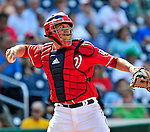 23 August 2009: Washington Nationals' catcher Josh Bard in action against the Milwaukee Brewers at Nationals Park in Washington, DC. The Nationals defeated the Brewers 8-3 to take the third game of their four-game series, snapping a five games losing streak. Mandatory Credit: Ed Wolfstein Photo