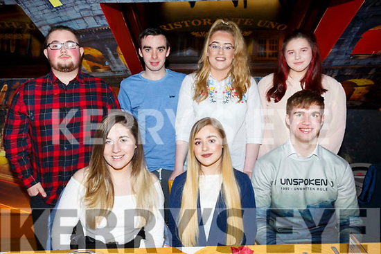 Caoimhe Roche from Tralee seated centre, celebrating her birthday in Restaurant Uno with friens on Saturday night last.  Seated l-r Michaela Lenihan, Caoimhe Roche and Seamus O&rsquo;Sullivan.<br /> Standing l-r, Kieran Condon, Colin O&rsquo;Reilly, Sophie Barrett and Mary Murphy.