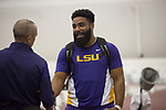 COLLEGE STATION, TX - MARCH 11: Johnnie Jackson of Louisiana State University shakes hands with a coach after his win in the weight thrown during the Division I Men's and Women's Indoor Track & Field Championship held at the Gilliam Indoor Track Stadium on the Texas A&M University campus on March 11, 2017 in College Station, Texas. (Photo by Michael Starghill/NCAA Photos/NCAA Photos via Getty Images)
