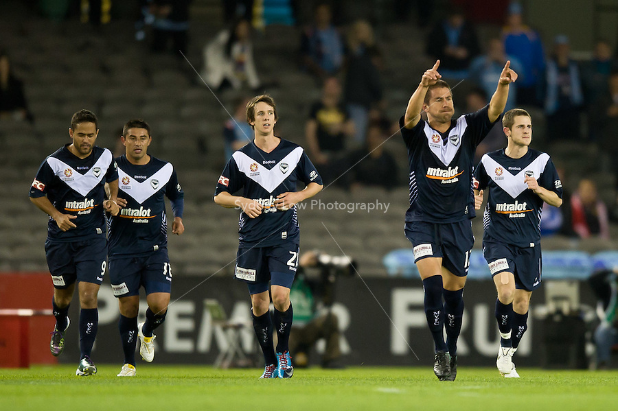 MELBOURNE, AUSTRALIA - OCTOBER 16, 2010: Rodrigo Vargas of Melbourne Victory celebrates his goal in Round 10 of the 2010 A-League between the Melbourne Victory and Sydney FC at Etihad Stadium on October 16, 2010 in Melbourne, Australia. (Photo by Sydney Low / Asterisk Images)