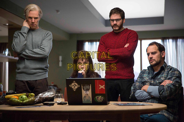 Benedict Cumberbatch, Carice Van Houten, Daniel Bruhl, Moritz Bleibtreu<br /> in The Fifth Estate (2013) <br /> *Filmstill - Editorial Use Only*<br /> CAP/NFS<br /> Image supplied by Capital Pictures